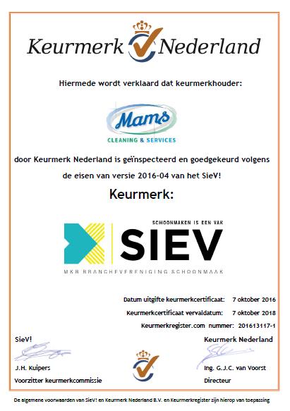 Mams Cleaning & Services BV heeft deze code ondertekent en hanteerd de principes van de code. Ze geven nadere invulling aan het moreel appèl.